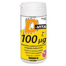 Витамины D-Vita малина клубника 100 µg 200 таблеток Vitabalans